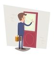 Oriented Happy Businessman with Briefcase Knocking vector image