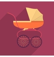 Retro baby stroller flat square icon with long vector image