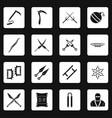 ninja tools icons set squares vector image