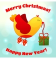 for Christmas and New Year with fun birds vector image