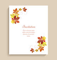 greeting card with yellow autumn leaves vector image
