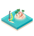 isometric of windsurfer Tropical island on the sea vector image