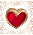 Valentines background abstract golden heart on red vector image