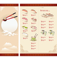 Template Design of Sushi Menu vector image