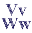 Uppercase and lowercase letters V and W vector image