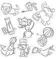 doodle of animal circus hand draw vector image