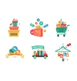 Collection of shopping carts full of shopping bags vector image