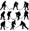 Set silhouettes of hockey player Isolated on vector image