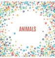 Colorful animal footprint ornament border isolated vector image