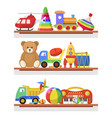 childrens toys on the shelves vector image