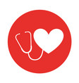 round icon heart stethoscope vector image