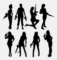 woman and gun sexy pose silhouette vector image