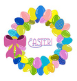 Wreath of Easter eggs vector image