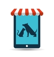 online pet shop and dog and veterinary vector image