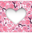 Heart with cherry blossom design vector image