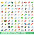 100 money wealth icons set isometric 3d style vector image