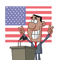 Barack Obama Flashes Victory Signs From Podium vector image