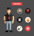 Flat Design of Rocker with Icon Set Infographic vector image