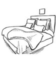 bedroom interior sketch hand drawn furniture vector image
