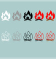 bonfire white grey black red grey icon vector image