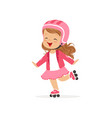 cheerful little girl in pink wear and protection vector image
