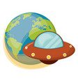 earth ufo spaceship object vector image