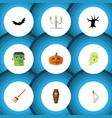 flat icon halloween set of terrible halloween vector image