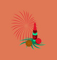 flat on background of christmas ball vector image