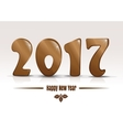 Happy new year 2017 Gold lettering on a white vector image