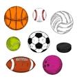 Sketched sporting balls and puck symbols vector image