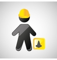 man silhouette helmet and cone design graphic vector image