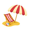 wooden beach chaise with umbrella vector image