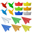 origami craft with birds and planes vector image