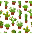 Seamless pattern of abstract cactuses in flower vector image