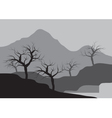 Silhouettes of dry tree on the mountain vector image