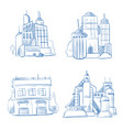 doodle modern business office industry factory vector image