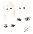 Females eyes green and blue vector image