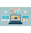 Laptop content rendering page vector image