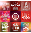 Set Of Typographic Valentines Day Backgrounds vector image