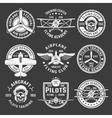 White Color Airplane Emblem Set vector image