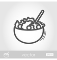 Salad bowl outline icon Harvest Thanksgiving vector image