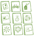 Notebooks with green drawings at the cover page vector image vector image