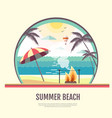 flat style design of summer beach landscape vector image