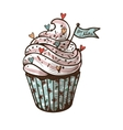 hand drawn of cupcake with label For mom vector image vector image