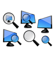 monitor with magnifier vector image vector image