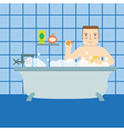 A man in the bath vector image