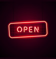glowing open neon sign with glitter vector image
