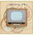 Outdated TV on vintage background vector image