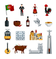 Portugal Icons Flat Set vector image