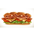 Sandwich with meat and cheese vector image